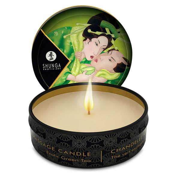 SOODSAIM: SHUNGA - MASSAGE CANDLE GREEN TEA, rohelise teega massaažiküünal, 30ml