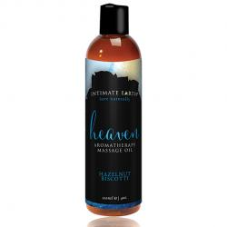 INTIMATE EARTH - MASSAGE OIL HEAVEN HAZELNUT BISCOTTI, biskviit pähklikreemiga massaažiõli, 120ml
